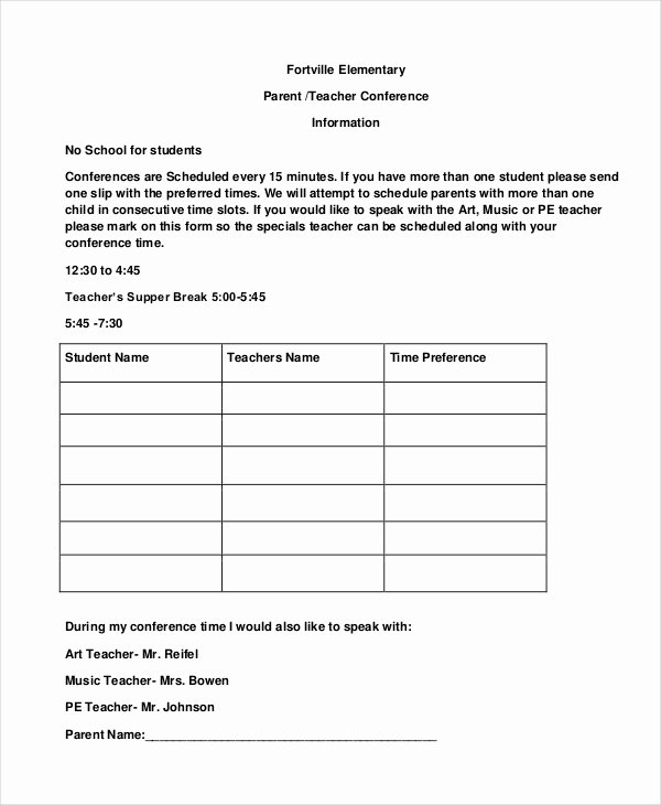 Parent Teacher Conference Sheet Awesome 9 Parent Teacher Conference forms Free Sample Example