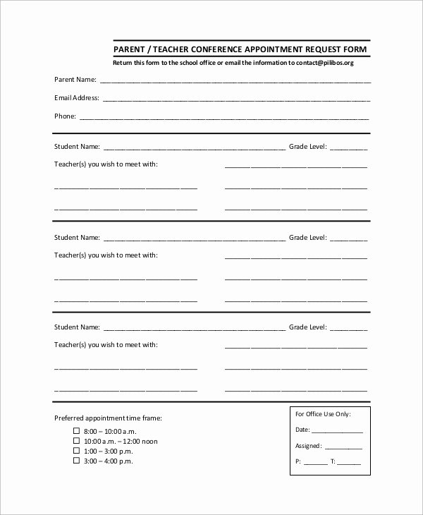 Parent Teacher Conference Sheet Best Of Sample Parent Teacher Conference form 9 Examples In