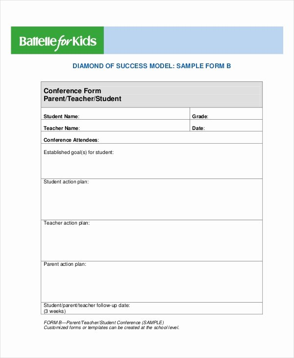 Parent Teacher Conference Sheet Elegant 9 Parent Teacher Conference forms Free Sample Example