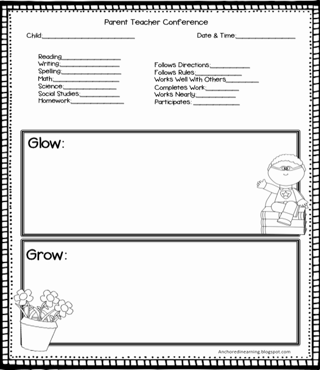 Parent Teacher Conference Sheet Elegant Anchored In Learning You Oughta Know August Blog Hop
