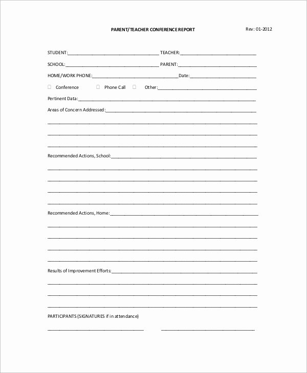 Parent Teacher Conference Sheet Inspirational Sample Parent Teacher Conference form 9 Examples In