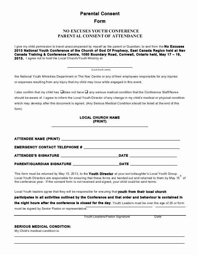 parental consent form conference 2013