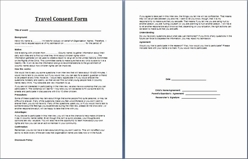 Parental Consent forms Template Beautiful Printable Ms Word Parent Consent forms