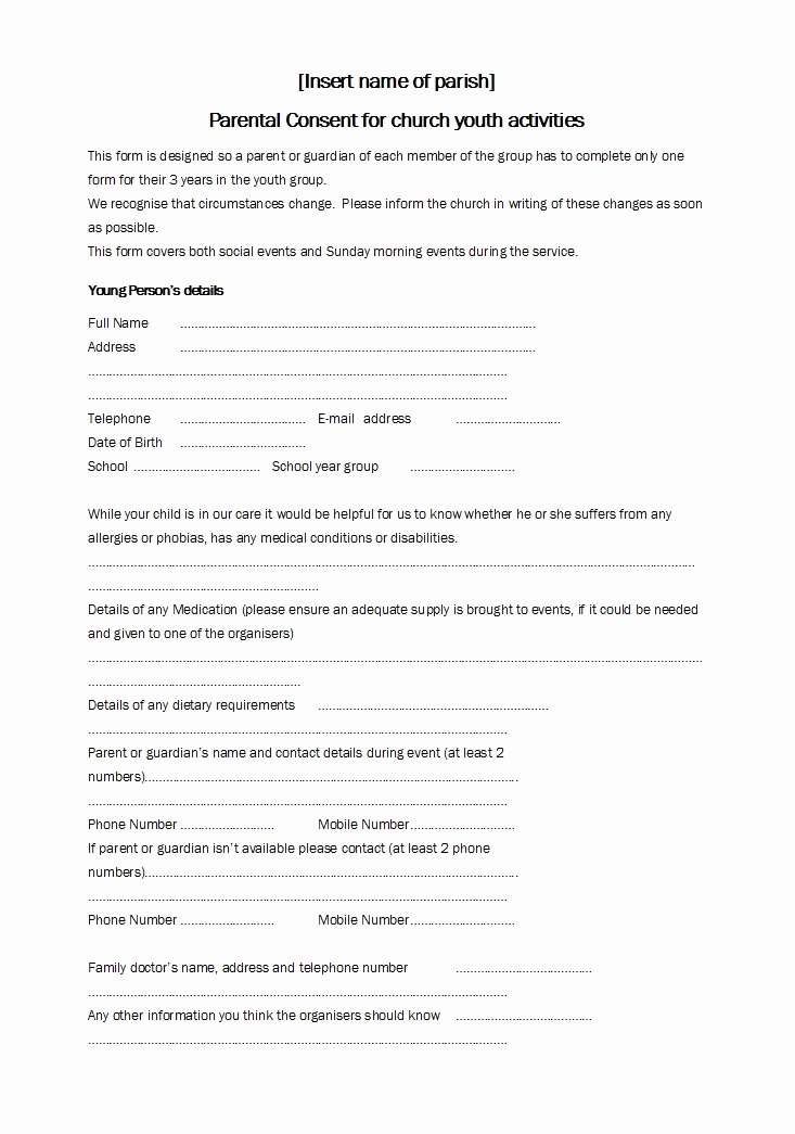 Parental Consent forms Template Best Of 50 Printable Parental Consent form & Templates Template Lab