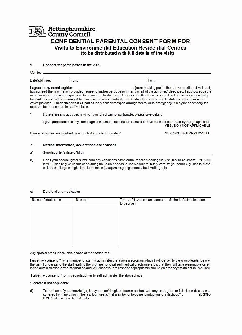 Parental Consent forms Template Elegant 50 Printable Parental Consent form & Templates Template Lab
