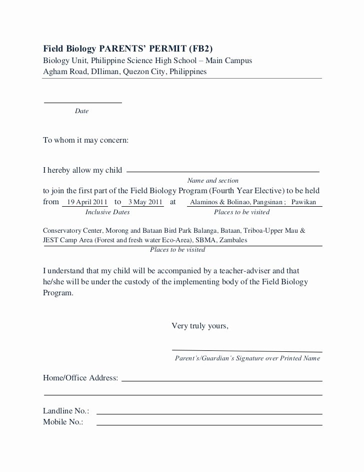 Parental Consent forms Template Lovely Consent form Fb 10