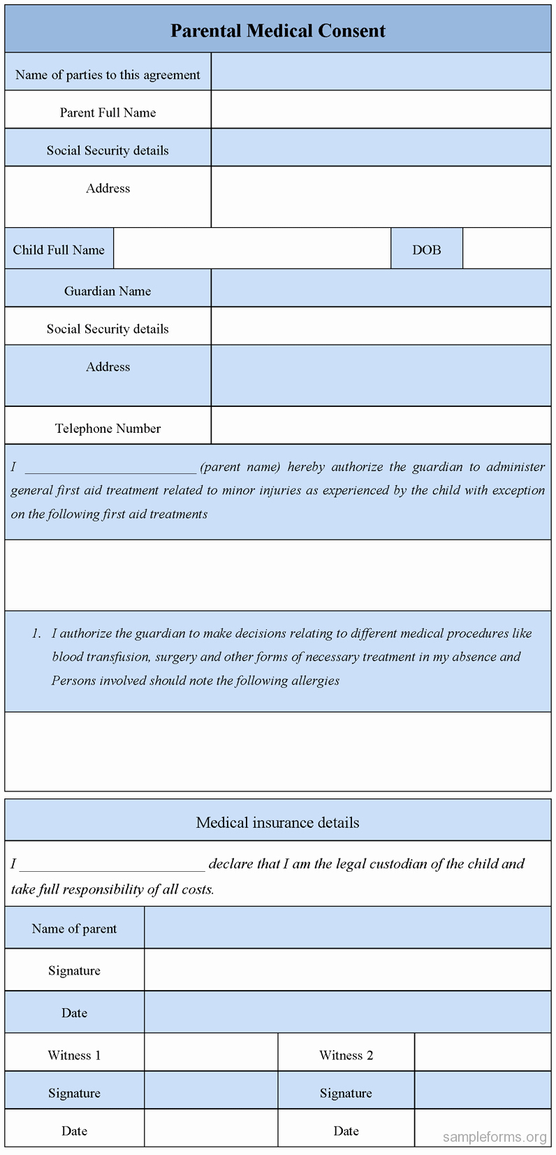 Parental Consent forms Template Lovely Parental Medical Consent form Sample forms