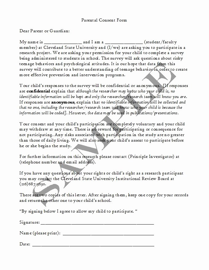 Parental Consent forms Template New 50 Printable Parental Consent form & Templates Template Lab