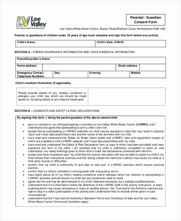 Parents Consent form Template Elegant Sample Parental Consent form 10 Free Documents In Word Pdf