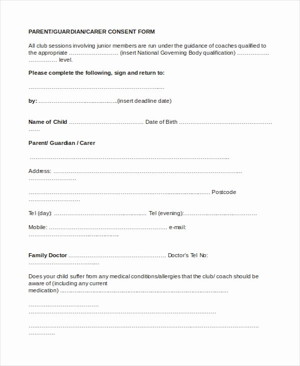 Parents Consent form Template Fresh Sample Parental Consent form 10 Free Documents In Word Pdf