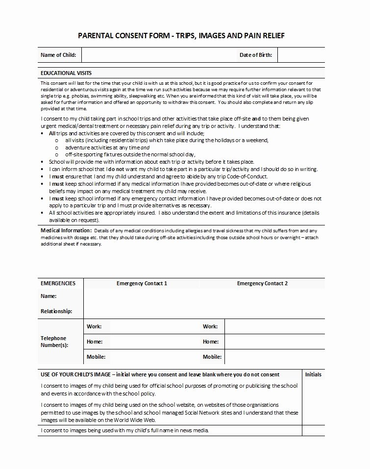 Parents Consent form Template Inspirational 50 Printable Parental Consent form & Templates Template Lab