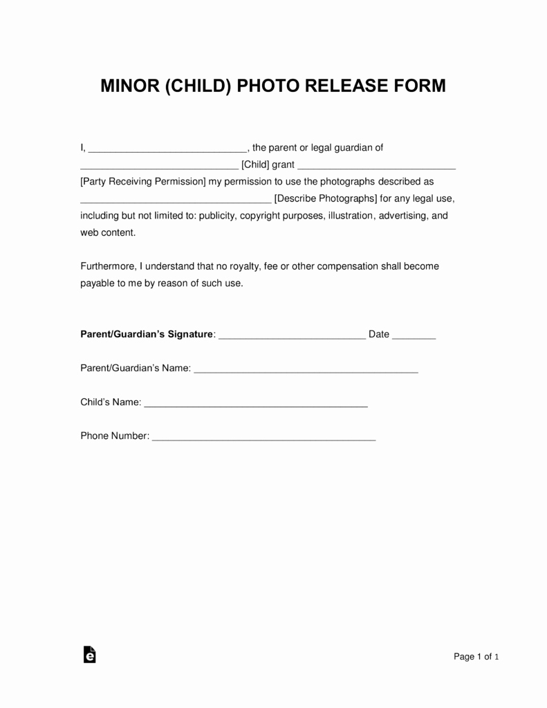 Parents Consent form Template Inspirational Free Minor Child Release form Word