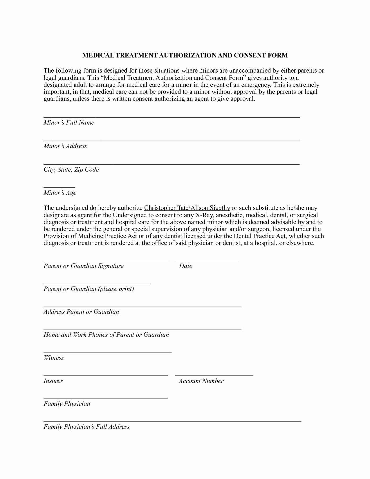 Parents Consent form Template Lovely Parental Consent form for Medical Treatment Free