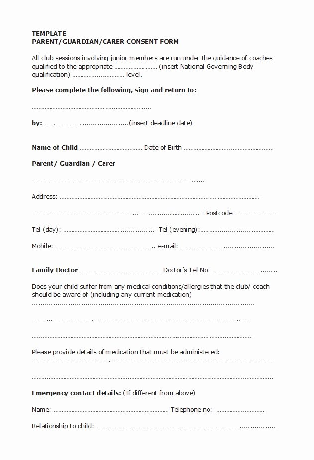 Parents Consent form Template New 50 Printable Parental Consent form & Templates Template Lab