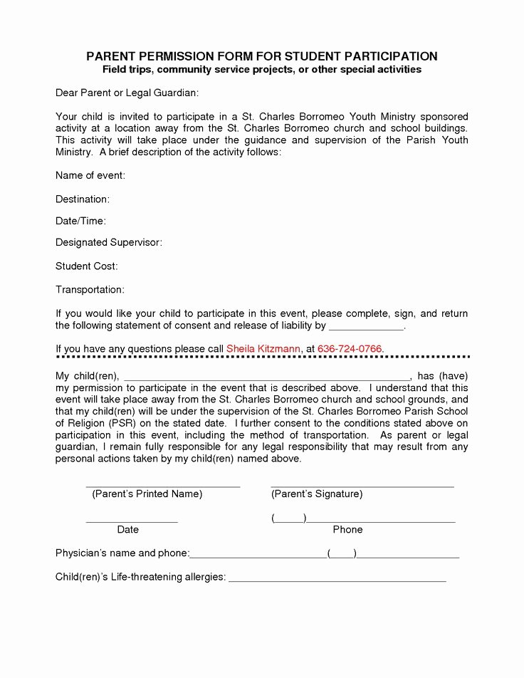 Parents Consent form Template New Participation form Template