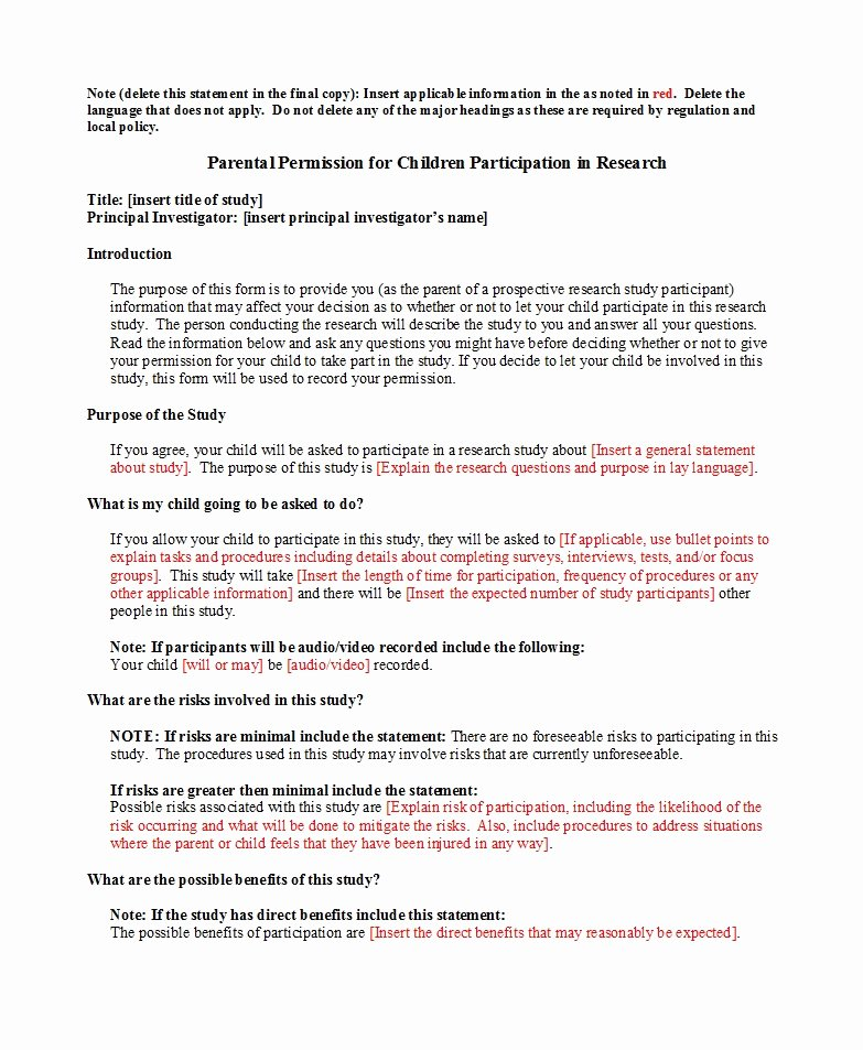 Parents Consent form Template Unique 50 Printable Parental Consent form & Templates Template Lab