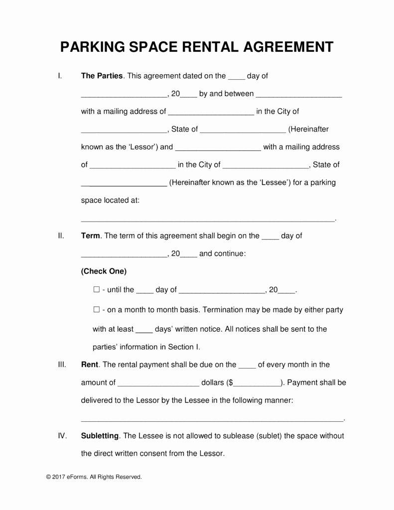 Parking Spot Lease Agreement Lovely 50 Last Space Lease Agreement Template Ie B