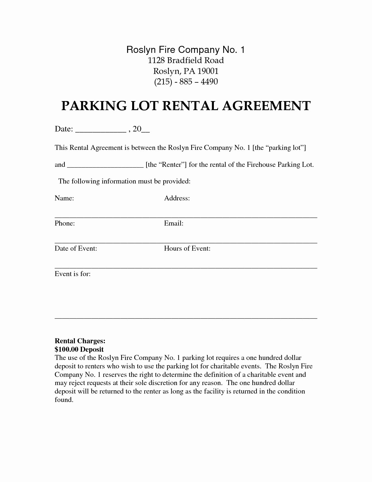Parking Spot Lease Agreement Lovely 50 Simple Parking Lot Lease Agreement Template Yo W