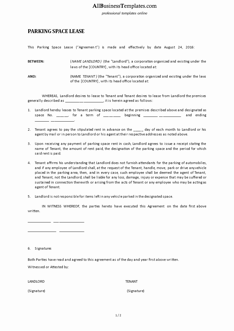 Parking Spot Lease Agreement New Parking Space Lease Agreement