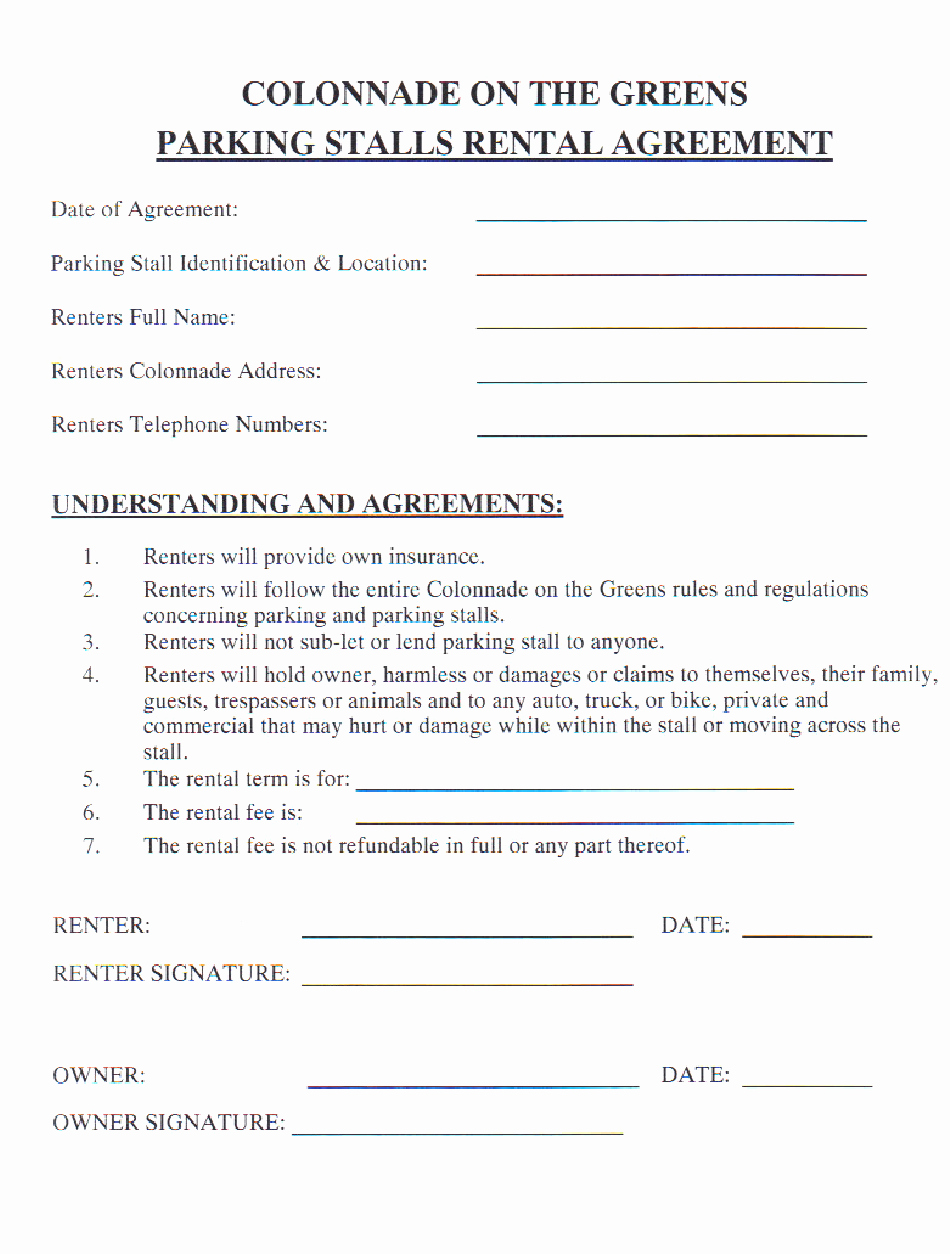 Parking Spot Lease Agreement New Parking Stall Rental Agreement form Printable Pdf