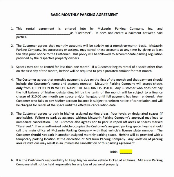 Parking Spot Lease Agreement New Sample Parking Agreement Template 9 Free Documents In