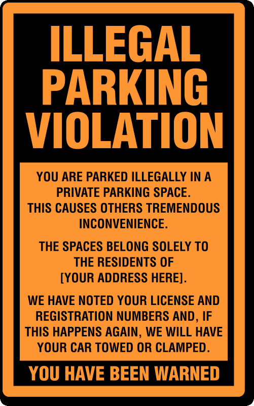 Parking Warning Notice Template Elegant Illegal Parking Stickers