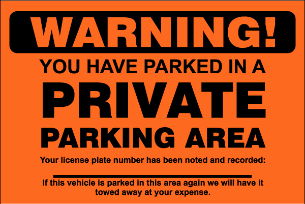 Parking Warning Notice Template Inspirational Private Parking area Violation Sticker Y6000 by