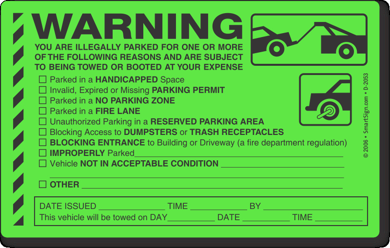 Parking Warning Notice Template Unique 5 In X 8 In Parking Violation Stickers You are Illegally
