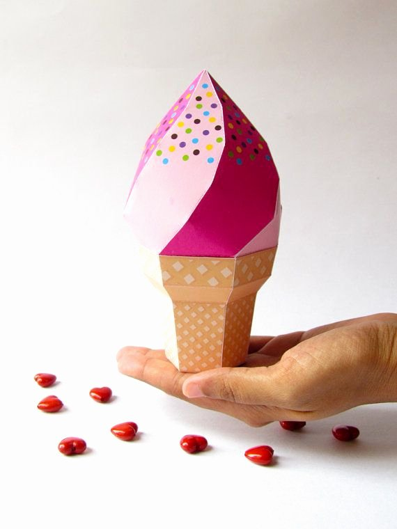 Party Favor Box Template Luxury Diy Icecream Party Favor Box Strawberry soft Serve