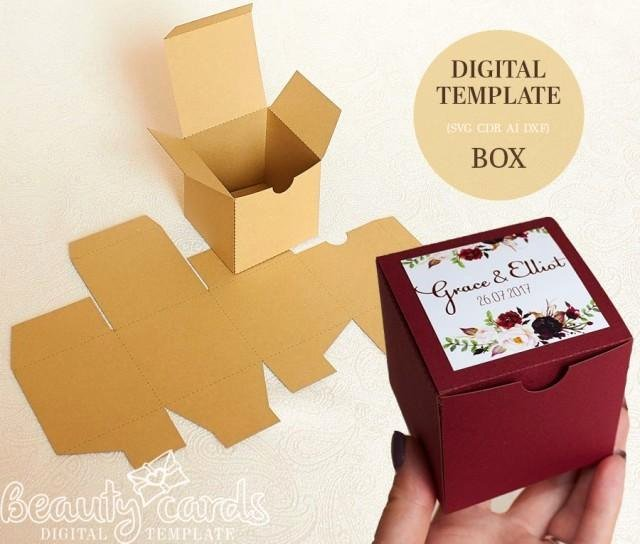 Party Favor Box Template Luxury Gift Box Template Diy Svg Square Box Wedding Favor Box
