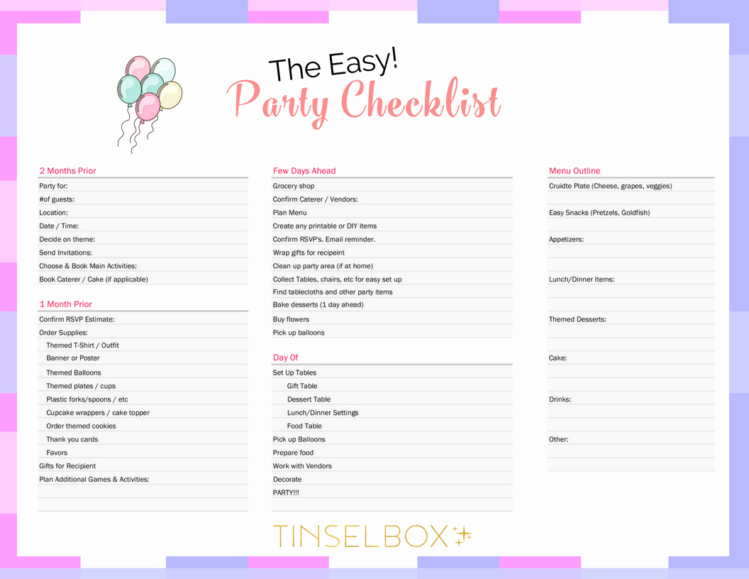 Party Planning Checklist Printable Awesome the Easy Party Planner Checklist Tinselbox