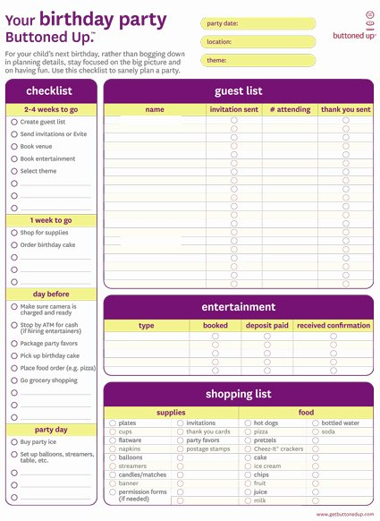 Party Planning Checklist Printable Unique Free Printable Birthday Party Checklist form buttoned Up