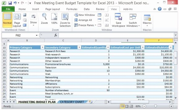 Party Planning Template Excel Elegant Free Meeting event Bud Template for Excel 2013