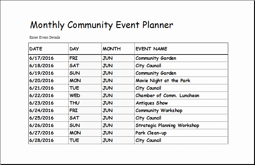 Party Planning Template Excel Lovely Munity event Planner Template for Excel