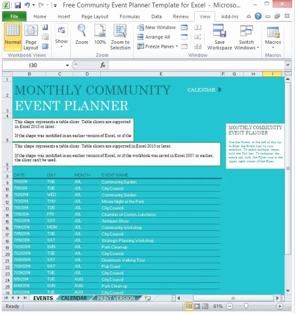 Party Planning Template Excel New Free Munity event Planner Template for Excel