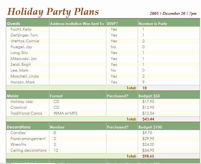 Party Planning Template Excel New Party Planner Template