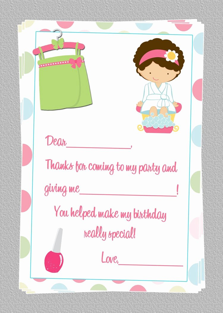 Party Thank You Note Awesome Custom Spa Birthday Thank You Notes Diy Printable File