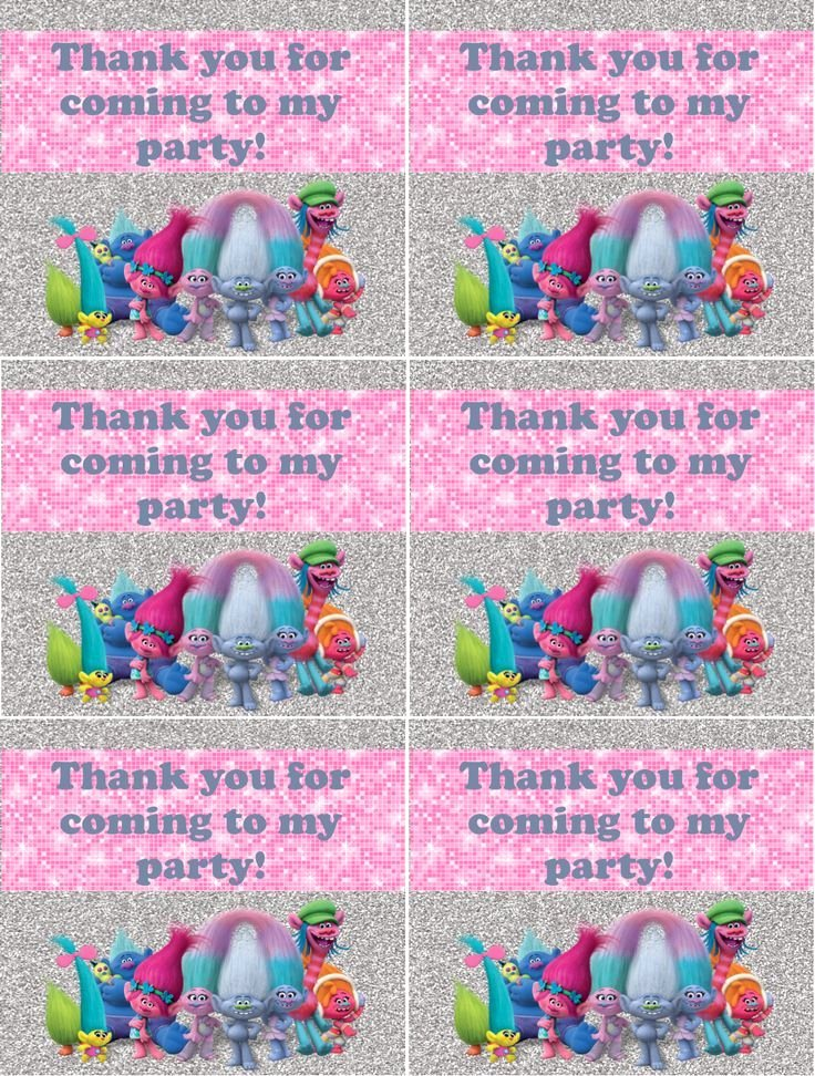 Party Thank You Note Awesome Trolls Birthday Party Thank You Notes Free Printable I