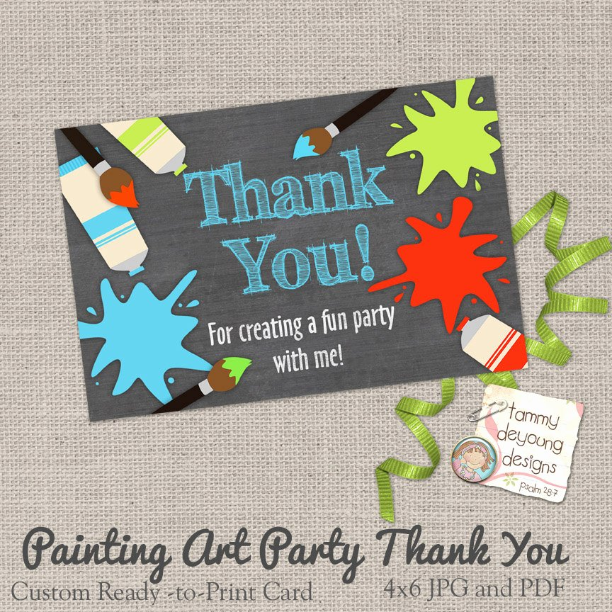Party Thank You Note Beautiful Art Party Thank You Card Painting Party Thank You Note