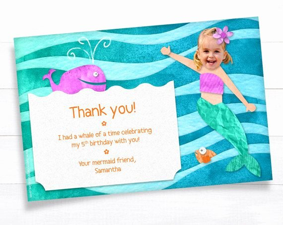 Party Thank You Note Beautiful Mermaid Thank You Card Note Invitation Kid Birthday Party