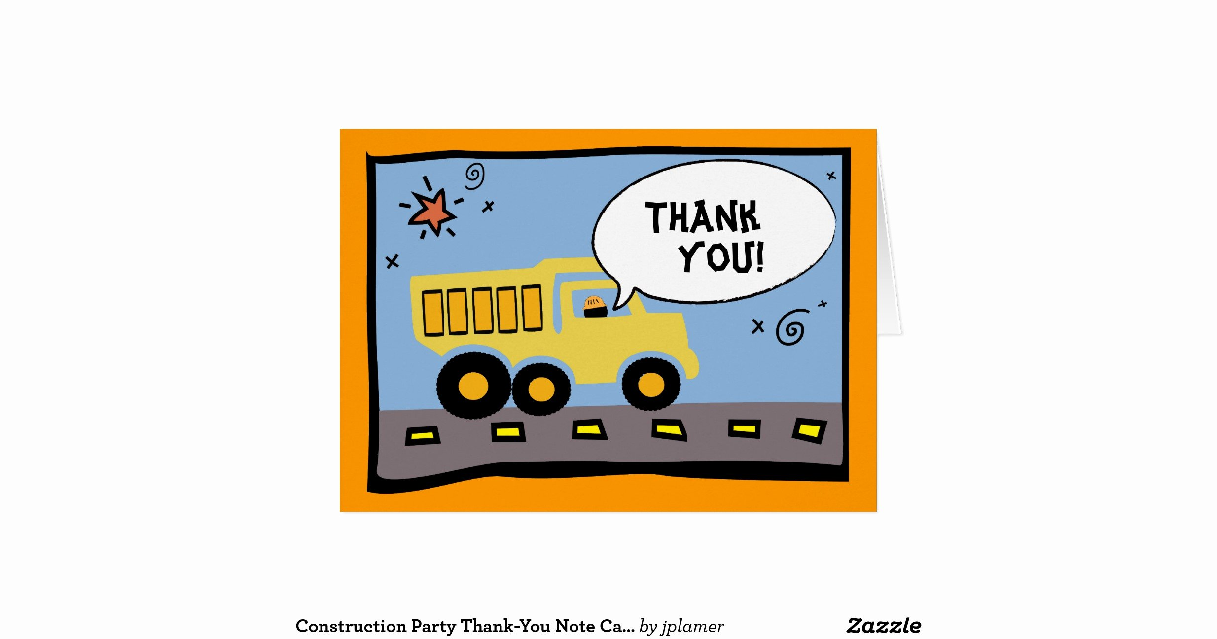 Party Thank You Note Best Of Construction Party Thank You Note Card