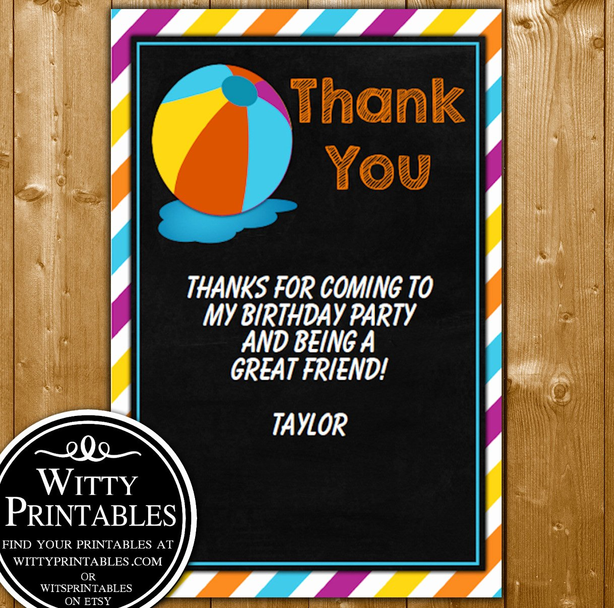 Party Thank You Note Best Of Pool Party Thank You Card for A Boy Party Printables