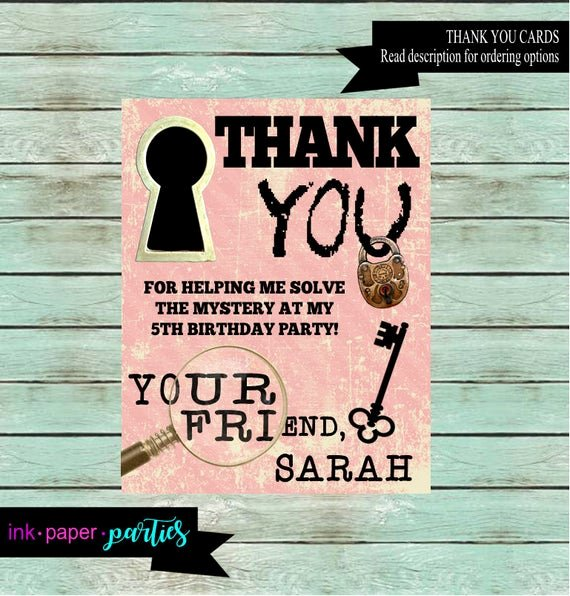 Party Thank You Note Elegant Escape Room Birthday Party Thank You Note Cards Personalized