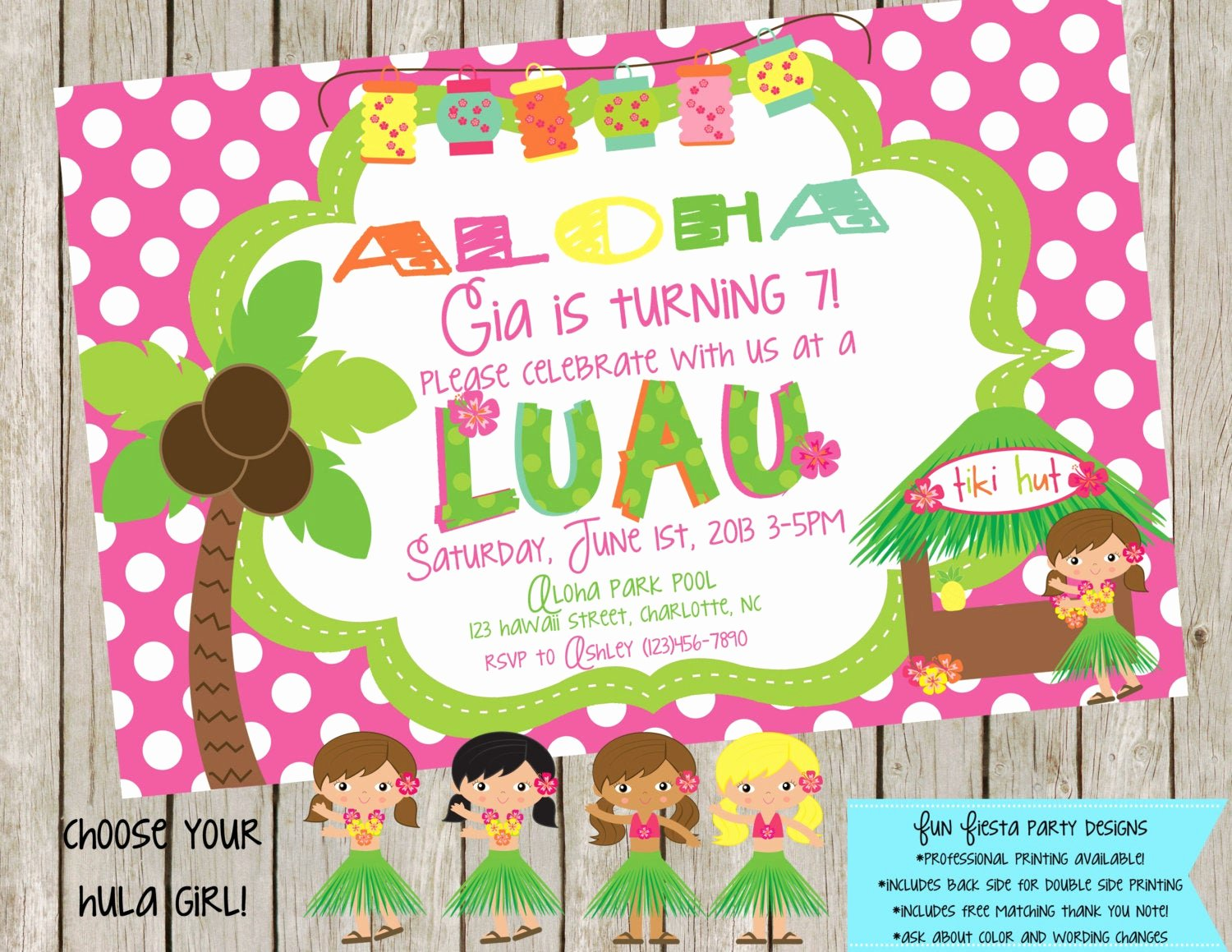 Party Thank You Note Fresh Luau Party Invitation and Matching Thank You Note