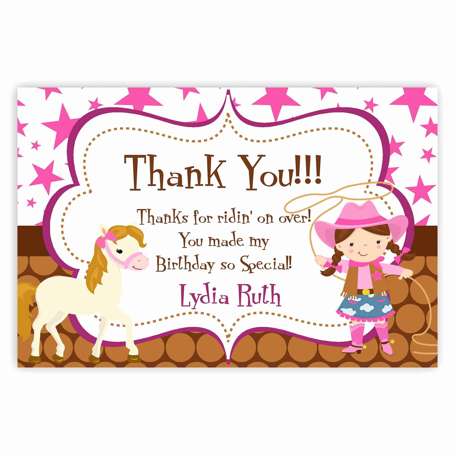 Party Thank You Note Inspirational Cowgirl Thank You Card Pink Stars Brown Polka Dot Girl