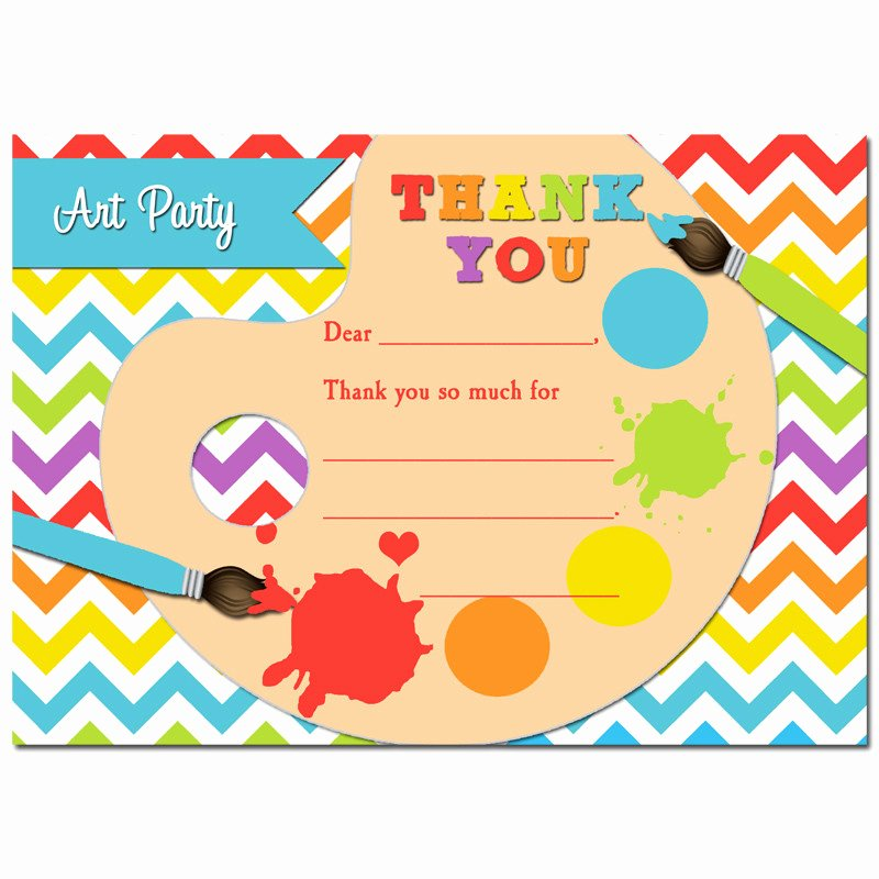 Party Thank You Note Inspirational Painting Art Party Thank You Notes by that Party Chick