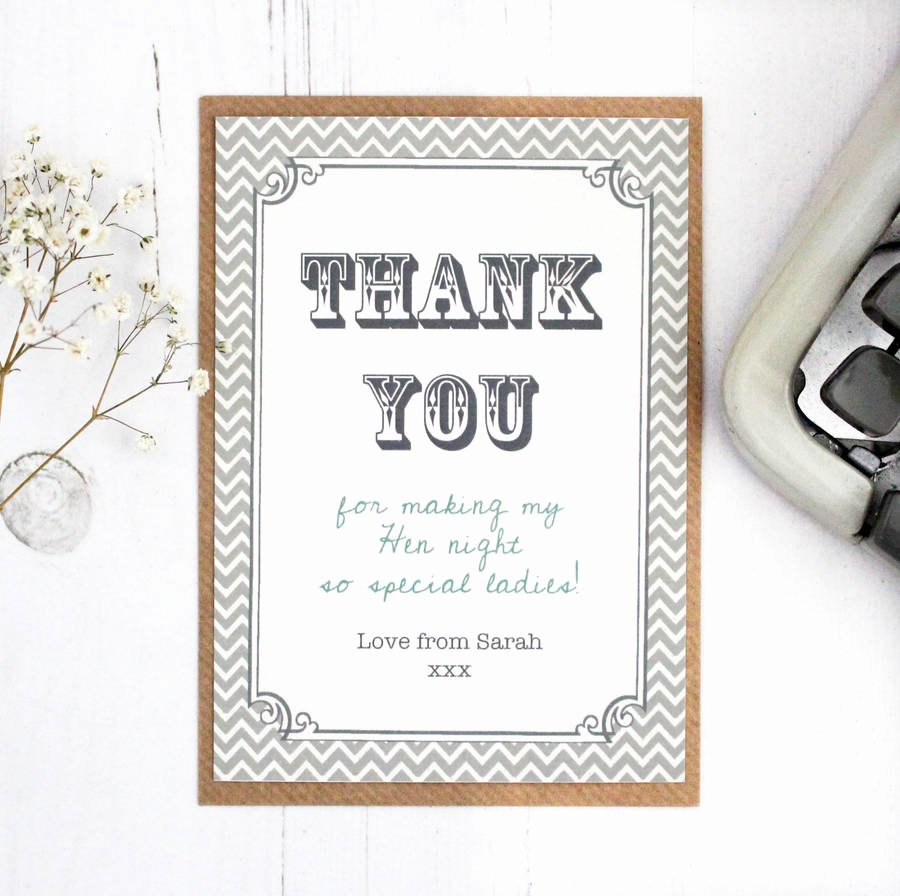 Party Thank You Note New Hen Party and Wedding Thank You Card by Precious Little