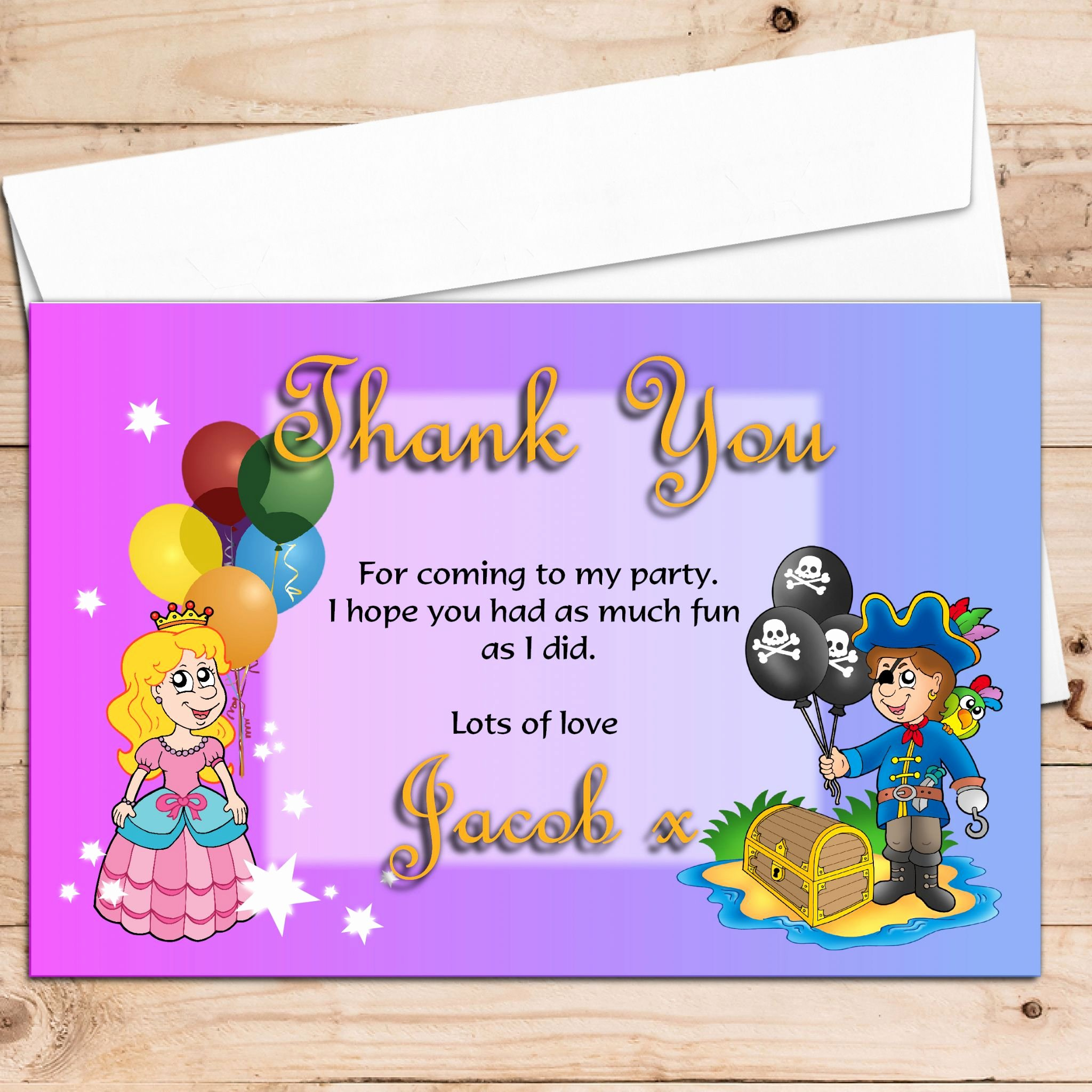 Party Thank You Note Unique 10 Personalised Pirate and Princess Birthday Party Thank