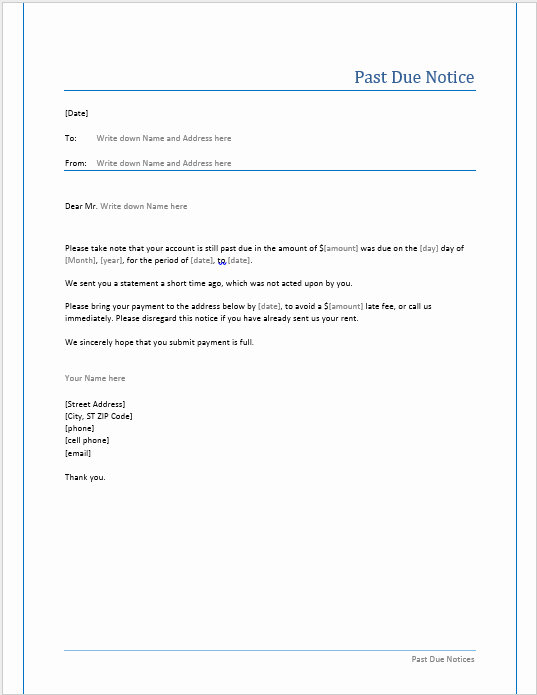 Past Due Rent Letter Beautiful Professional Payment Due Notice Letter Samples for Your