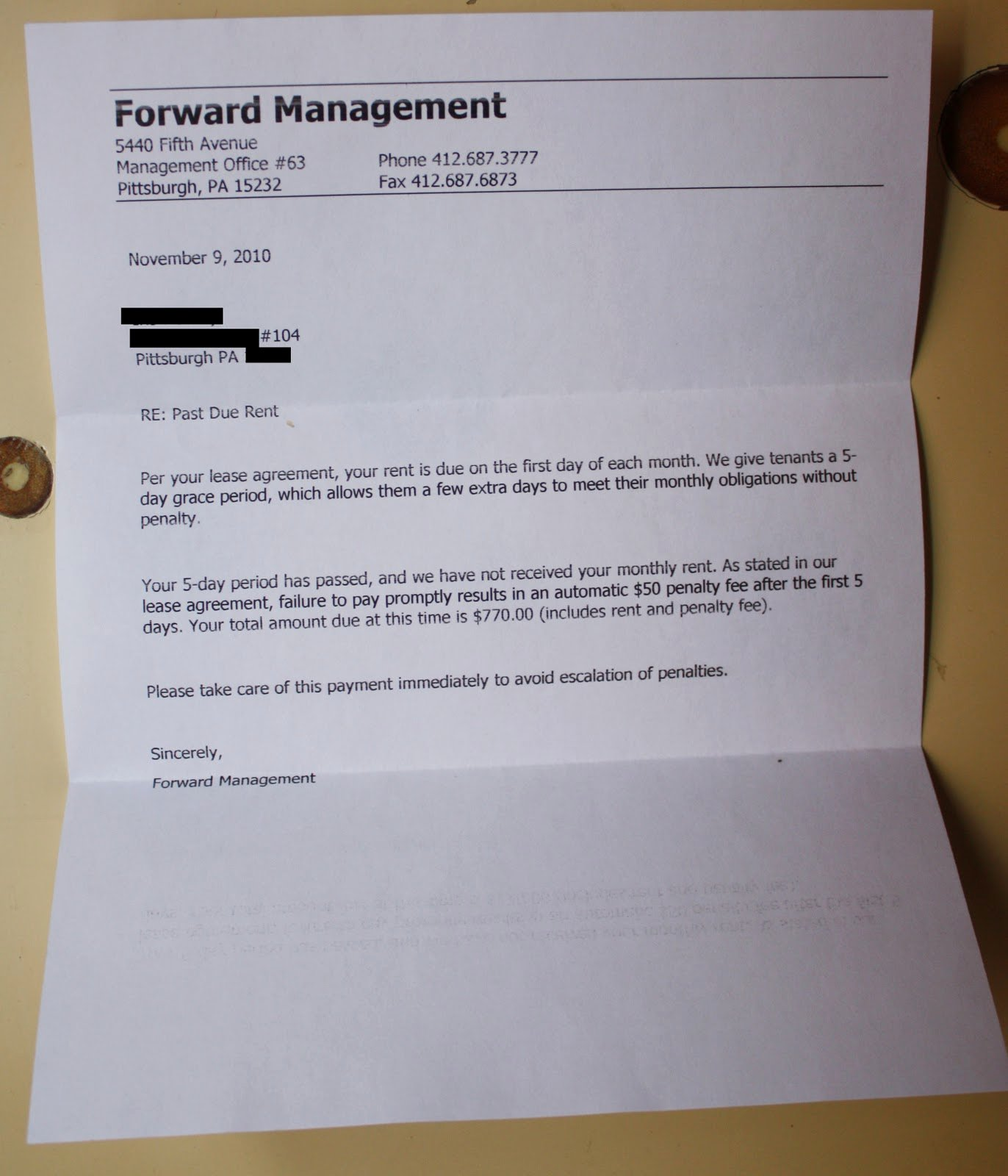 Past Due Rent Letter Best Of Leaking Bathroom Ceiling forward Management Pittsburgh